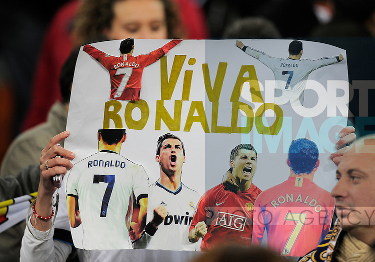 Cristiano Ronaldo of Real Madrid fan holds up a banner  - UEFA Champions League First Knockout Round 1st leg  - Real Madrid vs Manchester Utd - Bernabau Stadium - Madrid - 13/11/12 - Picture Simon Bellis/Sportimage-