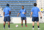08 September 2007: Ronaldinho (center) is watched by Vagner Love (l) and Kaka (r). The Brazil Men's National Team practiced at Toyota Park in Bridgeview, Illinois.
