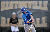 NWA Democrat-Gazette/BEN GOFF @NWABENGOFF<br /> Matthew Watson, Rogers designated hitter, flies out to right field Monday, April 17, 2017, during the sixth inning against Bentonville at the Tiger Athletic Complex in Bentonville.