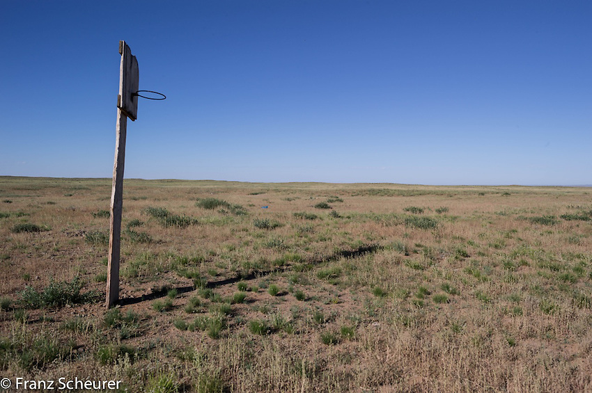 A very lonely basketball hoop in Mongolia