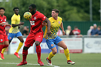 Alfie Flemming of Harlow Town and James Alabi of Leyton Orient during Harlow Town vs Leyton Orient, Friendly Match Football at The Harlow Arena on 6th July 2019