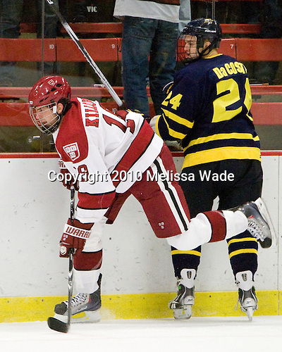 Alex Killorn (Harvard - 19), Stephane Da Costa (Merrimack - 24) - The visiting Merrimack College Warriors defeated the Harvard University Crimson 3-1 (EN) at Bright Hockey Center on Tuesday, November 30, 2010.