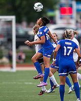 Boston Breakers forward Lianne Sanderson (10) and Sky Blue FC midfielder Katy Frierson (17) compete for a head ball.  In a National Women's Soccer League Elite (NWSL) match, Sky Blue FC defeated the Boston Breakers, 3-2, at Dilboy Stadium on June 16, 2013