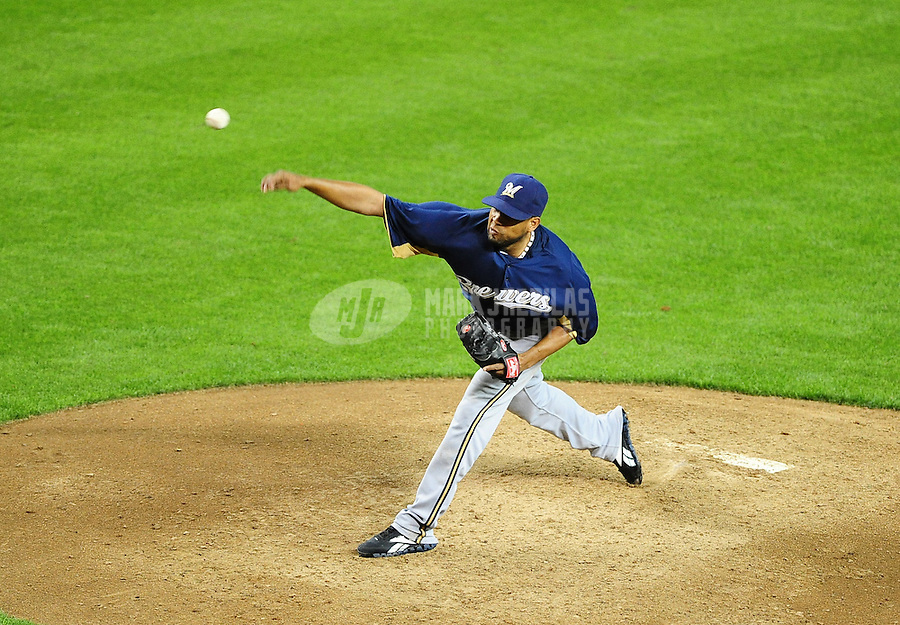Apr. 3, 2012; Phoenix, AZ, USA; Milwaukee Brewers pitcher Francisco Rodriguez throws in the fifth inning against the Arizona Diamondbacks during a spring training game at Chase Field.  Mandatory Credit: Mark J. Rebilas-