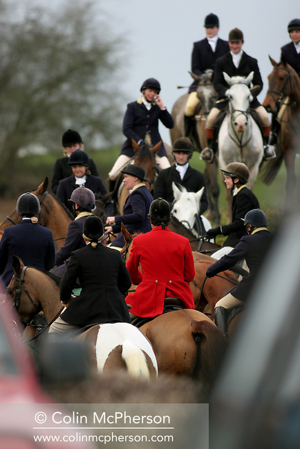 Members of the Wynnstay Hunt crowd through a gate as the pursue a fox. The Wynnstay Hunt, named after Sir Watkin Williams-Wynn, dated back to the 18th century and hunted on country estates in Shropshire, Cheshire and north Wales. Hunting with dogs in England and Wales became illegal on 18th February 2005 despite legal challenges to the ban and many hunts vowed to continue the ancient sport of foxhunting, risking prosecution.