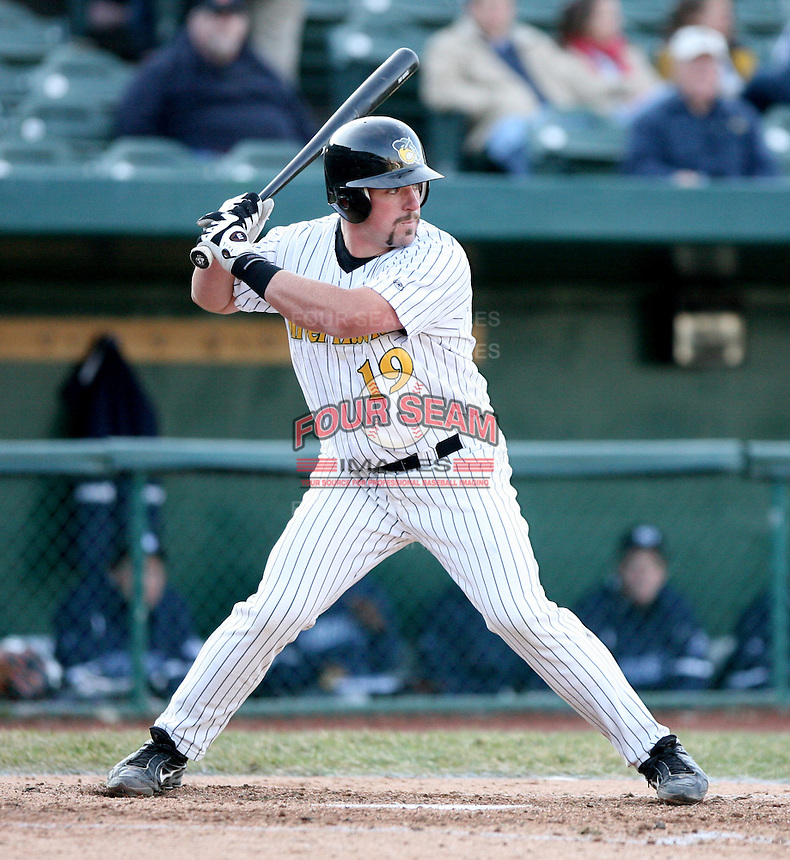 April 4, 2008:  South Bend Silver Hawks starting catcher Konrad Schmidt (19)  at bat against the West Michigan Whitecaps at Coveleski Stadium in South Bend, IN.  Photo by: Chris Proctor/Four Seam Images