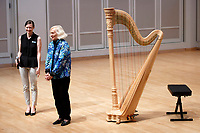 USA International Harp Competition Founder and Artistic Director Susann McDonald introduces harpist Katherine Siochi before Siochi's laureate recital during the 11th USA International Harp Competition at Indiana University in Bloomington, Indiana on Friday, July 5, 2019. (Photo by James Brosher)