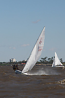 Sail boats racing on Lake Pontchartrain, New Orleans, Louisiana.