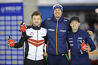 SPEEDSKATING: CALGARY: Olympic Oval, 02-12-2017, ISU World Cup, Podium 1000m Men Division B, Haralds Silovs (LAT), Hein Otterspeer (NED), Jonathan Garcia (USA), ©photo Martin de Jong
