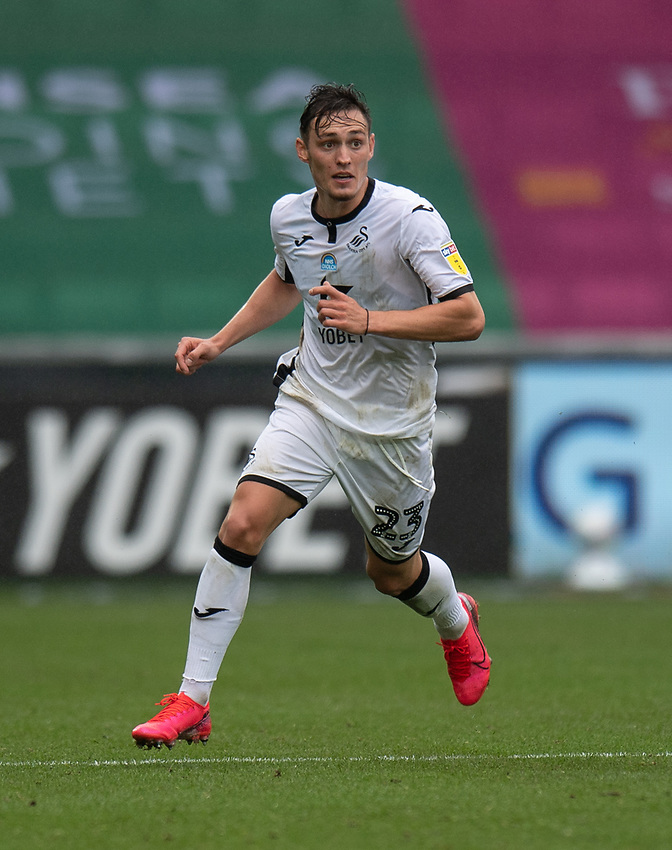 Swansea City's Connor Roberts - scored the winning goal for Swansea City<br /> <br /> Photographer David Horton/CameraSport<br /> <br /> The EFL Sky Bet Championship - Swansea City v Bristol City- Saturday 18th July 2020 - Liberty Stadium - Swansea<br /> <br /> World Copyright © 2019 CameraSport. All rights reserved. 43 Linden Ave. Countesthorpe. Leicester. England. LE8 5PG - Tel: +44 (0) 116 277 4147 - admin@camerasport.com - www.camerasport.com