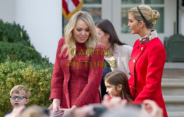 Tiffany Trump and Ivanka Trump after the ceremony where United States President Donald J. Trump and First Lady Melania Trump hosted the National Thanksgiving Turkey Pardoning Ceremony in the Rose Garden of the White House in Washington, DC on Monday, November 20, 2017.  According to the White House Historical Association, the ceremony originated in 1863 when US President Abraham Lincoln's granted clemency to a turkey. The tradition jelled in 1989 when US President George HW Bush stated &quot;But let me assure you, and this fine tom turkey, that he will not end up on anyone's dinner table, not this guy -- he's granted a Presidential pardon as of right now -- and allow him to live out his days on a children's farm not far from here.&icirc;<br /> CAP/MPI/RS<br /> &copy;RS/MPI/Capital Pictures