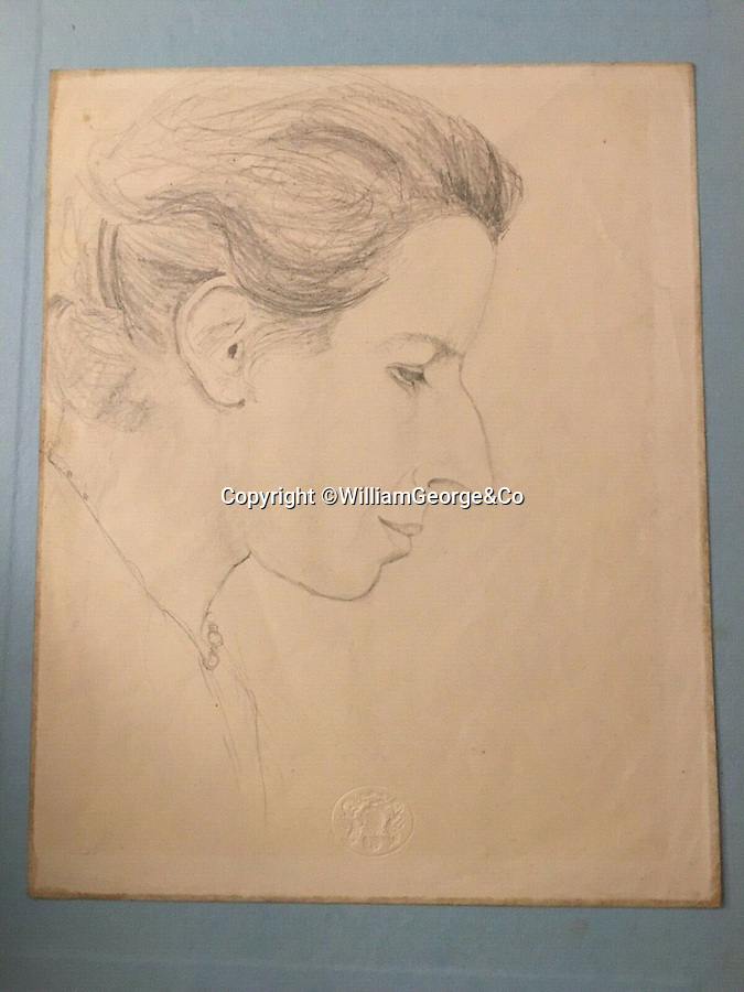 BNPS.co.uk (01202 558833)<br /> Pic: WilliamGeorge&Co/BNPS<br /> <br /> Two charming sketches purported to be the work of Queen Elizabeth II when she was a child have come to light.<br /> <br /> One pencil sketch shows the profile of a lady (PICTURED) while the other is of the same person knitting.<br /> <br /> The woman is believed to be Marion Crawford, the nanny to Elizabeth and Margaret who served in Buckingham Palace from 1932 to 1947.