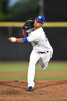 Dunedin Blue Jays pitcher Efrain Nieves (46) delivers a pitch during a game against the Daytona Cubs on April 14, 2014 at Florida Auto Exchange Stadium in Dunedin, Florida.  Dunedin defeated Daytona 1-0  (Mike Janes/Four Seam Images)