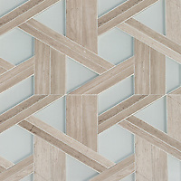 Hector Grand, a stone and glass waterjet mosaic, shown in honed Whitewood and Tropical White, is part of the Altimetry® Collection for New Ravenna.