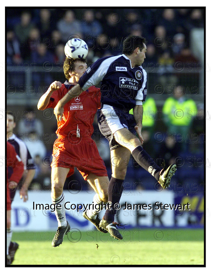 27th January 2001    Copyright Pic : James Stewart .Ref :                          .File Name : stewart01-dundee v falkirk.FALKIRK'S KEVIN CHRISTIE AND JAVIER ARTERO CHALLENGE FOR THE BALL......Payments to :-.James Stewart Photo Agency, Stewart House, Stewart Road, Falkirk. FK2 7AS      Vat Reg No. 607 6932 25.Office : +44 (0) 1324 630007        Mobile : 07721 416997.Fax     : +44 (0) 1324 630007.E-mail : jim@jspa.co.uk.If you require further information then contact Jim Stewart on any of the numbers above.........