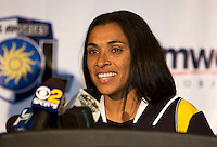 Los Angeles Sol and LA Lakers Kobe Bryant introduce Brazilian Marta to the roster during a Press Conference at the Home Depot Center in Carson, California on Thursday, March 5, 2009..Photo by Michael Janosz/ISI Photos.