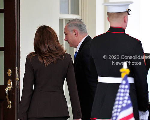 Washington, D.C. - March 23, 2010 -- Prime Minister Benjamin Netanyahu of Israel arrives at the White House arrives at the White House for talks in the Oval Office with United States President Barack Obama..Credit: Ron Sachs / CNP