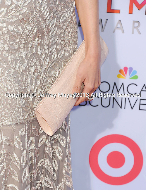 PASADENA, CA- SEPTEMBER 27: Actress Aimee Garcia (handbag, ring detail) at the 2013 NCLA ALMA Awards at Pasadena Civic Auditorium on September 27, 2013 in Pasadena, California.
