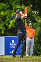 Ross Fisher (ENG) watches his tee shot on 8 during Round 1 of the Zurich Classic of New Orl, TPC Louisiana, Avondale, Louisiana, USA. 4/26/2018.<br /> Picture: Golffile | Ken Murray<br /> <br /> <br /> All photo usage must carry mandatory copyright credit (&copy; Golffile | Ken Murray)