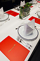 White tablecloth and fancy tableware set for 20 lucky customers who enjoy eating a McDonald's special dinner created by chef Masayo Waki during a ''Restaurant M'' event in the posh Roppongi Hills area on July 27, 2015, Tokyo, Japan. 20 chosen diners (from 8,300 applications) ate a special multi-course dinner created by the celebrity chef using ingredients from the restaurant chain's regular menu. The special one-night only event was organized to celebrate the launch of its new summer menu ''Fresh Mac,'' which features fresh vegetables. The five-course meal served on a white tablecloth with plates and proper cutlery included a Vichyssoise en Pommes de terre de McDonald, Mousse au Poivron Rouge, Salade en Gelee aux Legumes de McDonald, Cinq Pinchos des McDonald Patties avec leur Sauces, a choice of main dish including the Fresh Mac bacon lettuce burger, and a McFlurry Mixed Berry Oreo dessert with a Premium Roast Coffee. (Photo by Rodrigo Reyes Marin/AFLO)