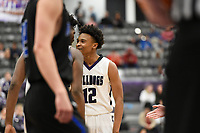 Fayetteville guard Corey Williams, Jr (12) reacts after a score during a basketball game, Friday, January 10, 2020 at Fayetteville High School in Fayetteville. Check out nwaonline.com/200111Daily/ for today's photo gallery.<br /> (NWA Democrat-Gazette/Charlie Kaijo)