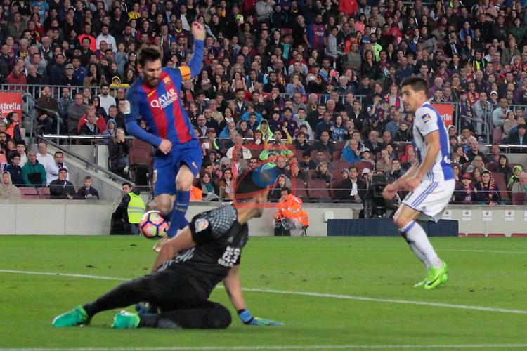League Santander 2016/2017. Game: 32.<br /> FC Barcelona vs Real Sociedad: 3-2.<br /> 2-0: Lionel Messi.