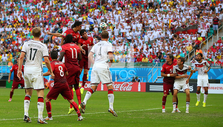 Mats Hummels of Germany (hidden) scores a goal to make the score 2-0