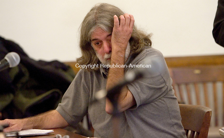 LITCHFIELD CT. 23 January 2014-012314SV12-Frederick Acker gets emotional in court while being sentenced on animal cruelty charges in Litchfield Superior Court in Litchfield Thursday.<br /> Steven Valenti Republican-American