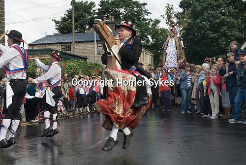 Greenfield Saddleworth Yorkshire UK.  Morris men from Denmark and Saddleworth Rushcart.
