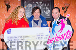 Patsy Sheehan and John Anthony O'sullivan presents a cheque of €2,500 the proceeds of the recent 80's v 90's disco they held in the Grand Hotel to Gillian O'Donoghue for the Glow Hearts for Crumlin charity in the Grand on Friday night