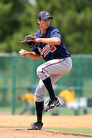 GCL Braves pitcher Ryan Harper #18 delivers a pitch during a game against the GCL Pirates at Disney Wide World of Sports on June 25, 2011 in Kissimmee, Florida.  The Pirates defeated the Braves 5-4 in ten innings.  (Mike Janes/Four Seam Images)