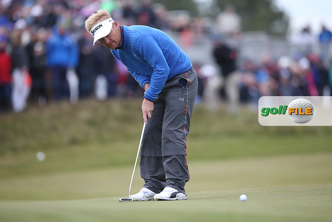 Missed putt on the last for Soren Kjeldsen (DEN) isn't the end of the world as he finishes with a 2-shot lead during Round Three of the 2015 Dubai Duty Free Irish Open Hosted by The Rory Foundation at Royal County Down Golf Club, Newcastle County Down, Northern Ireland. 30/05/2015. Picture David Lloyd | www.golffile.ie