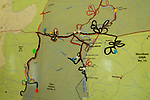 Anti-poaching patrols marked on map, Kafue National Park, Zambia