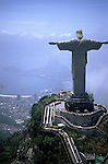 Rio de Janeiro, Brazil. Christ Statue, aerial view showing the outside escalator from the car park; Corcovado mountain.