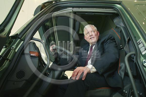 BRUSSELS - BELGIUM - 23 JANUARY 2004  -- Lars-Oluf ALMQUIST, President Volvo Trucks Benelux, sitting in a Volvo F16. PHOTO: ERIK LUNTANG / EUP-IMAGES.