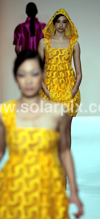 **ALL ROUND PICTURES FROM SOLARPIX.COM**.**NO UK NEWSPAPER PUBLICATION **UK MAGAZINE & SUPPLEMENT PUBLICATION ONLY** AND NO PUBLICATION IN FRANCE, SCANDINAVIA, AUSTRALIA AND GERMANY** .The Dublin Fashion designer Paul Costelloe catwalk show at London Fashion Week in London in the UK..This Pic:catwalk model..JOB REF:7328-SFE       DATE:14_09_0'8 .**MUST CREDIT SOLARPIX.COM OR DOUBLE FEE WILL BE CHARGED* *UNDER NO CIRCUMSTANCES IS THIS IMAGE TO BE REPRODUCED FOR ANY ONLINE EDITION WITHOUT PRIOR PERMISSION*