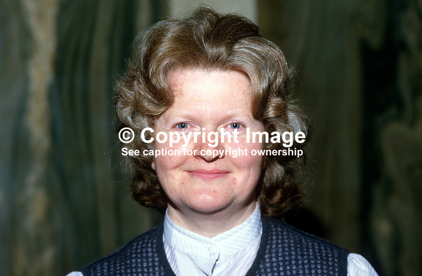 Muriel Crooks, councillor, Ulster Unionist, Belfast, N Ireland, 19850514MC1..Copyright Image from Victor Patterson, 54 Dorchester Park, Belfast, UK, BT9 6RJ..Tel: +44 28 9066 1296.Mob: +44 7802 353836.Voicemail +44 20 8816 7153.Skype: victorpattersonbelfast.Email: victorpatterson@me.com.Email: victorpatterson@ireland.com (back-up)..IMPORTANT: If you wish to use this image or any other of my images please go to www.victorpatterson.com and click on the Terms & Conditions. Then contact me by email or phone with the reference number(s) of the image(s) concerned.