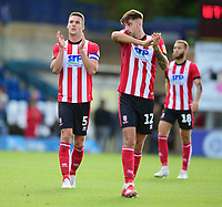 Lincoln City's Jason Shackell, left, and Ellis Chapman applauds the fans at the final whistle<br /> <br /> Photographer Andrew Vaughan/CameraSport<br /> <br /> The EFL Sky Bet League One - Wycombe Wanderers v Lincoln City - Saturday 7th September 2019 - Adams Park - Wycombe<br /> <br /> World Copyright © 2019 CameraSport. All rights reserved. 43 Linden Ave. Countesthorpe. Leicester. England. LE8 5PG - Tel: +44 (0) 116 277 4147 - admin@camerasport.com - www.camerasport.com