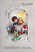 Interlitho, CHRISTMAS SANTA, SNOWMAN, nostalgic, paintings, girl, boy, lantern(KL2446,#X#) Weihnachten, nostalgisch, Navidad, nostálgico, illustrations, pinturas