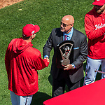 5 April 2018: Washington Nationals General Manager and President of Baseball Operations Mike Rizzo presents Max Scherzer with his 2017 Cy Young Award prior to the Home Opening Game against the New York Mets at Nationals Park in Washington, DC. The Mets defeated the Nationals 8-2 in the first game of their 3-game series. Mandatory Credit: Ed Wolfstein Photo *** RAW (NEF) Image File Available ***