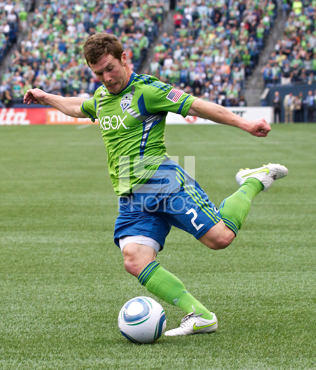 Seattle Sounders FC forward Mike Fucito  passes the ball during play against the New York Red Bulls at Qwest Field in Seattle Saturday June 23, 2011. The Sounders won the game 4-2.