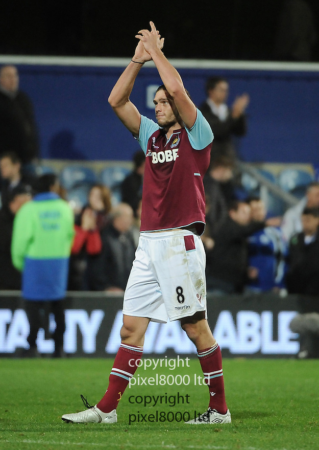 Andy Carroll of West Ham Unted in action during the Barclays Premier League match between West Ham United and Queens Park Rangers at Loftus Road on Monday ,01 October 2012 in London, England. Picture Zed Jameson/pixel 8000 ltd