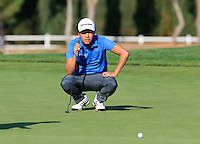 Daniel Im (USA) on the 14th green during Thursday's Round 1 of the 2016 Portugal Masters held at the Oceanico Victoria Golf Course, Vilamoura, Algarve, Portugal. 19th October 2016.<br /> Picture: Eoin Clarke | Golffile<br /> <br /> <br /> All photos usage must carry mandatory copyright credit (&copy; Golffile | Eoin Clarke)