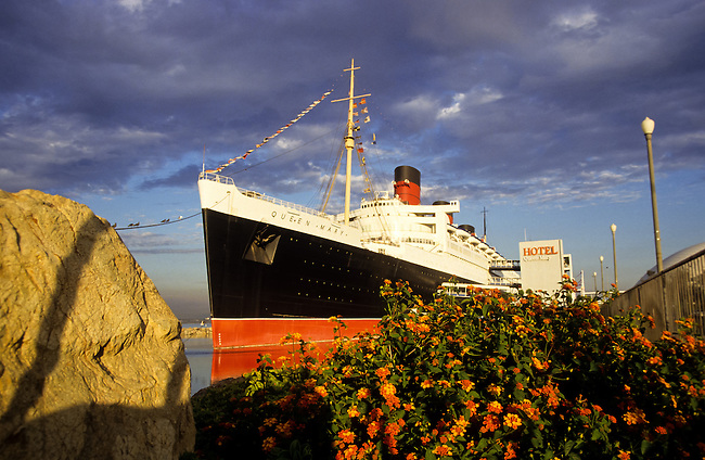 Queen Mary Hotel liner in Los Angeles harbor,  California, USA