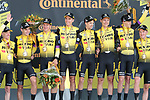 Team Jumbo-Visma win Stage 2 of the 2019 Tour de France a Team Time Trial running 27.6km from Bruxelles Palais Royal to Brussel Atomium, Belgium. 7th July 2019.<br /> Picture: Colin Flockton | Cyclefile<br /> All photos usage must carry mandatory copyright credit (© Cyclefile | Colin Flockton)