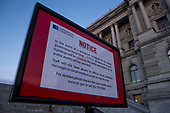 A notice outside the Library of Congress stating that the Library is closed due to the United States Government shutdown on January 20th, 2018 in Washington, D.C. <br /> Credit: Alex Edelman / CNP