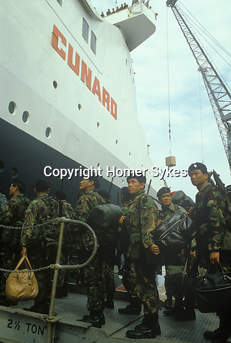 Ghurkas British Soldiers depart for the Falkland War Queen Elizabeth QE2 leaves from Southampton for the Falklands Conflict. May 1982 England.