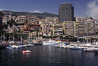 Monaco, Boats docked in Monaco Harbor in the district of La Condamine in the Principality of Monaco along the Mediterranean Sea.