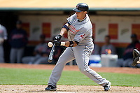 6 April 2008: Indians' #13 Asdrubal Cabrera hits the ball during the Cleveland Indians 2-1 victory over the Oakland Athletics at the McAfee Coliseum in Oakland, CA.