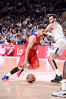 Real Madrid's Rudy Fernandez and CSKA Moscow Nando de Colo during Turkish Airlines Euroleague match between Real Madrid and CSKA Moscow at Wizink Center in Madrid, Spain. January 06, 2017. (ALTERPHOTOS/BorjaB.Hojas)